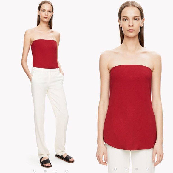 Theory Tops - NWT Theory Zalballa Crepe Strapless Top, Red, 10